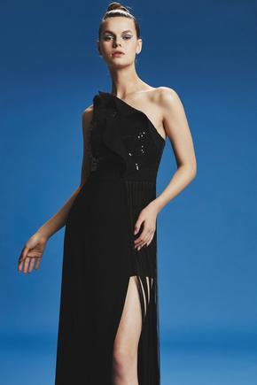 Siyah Uzun Saçaklı Elbise