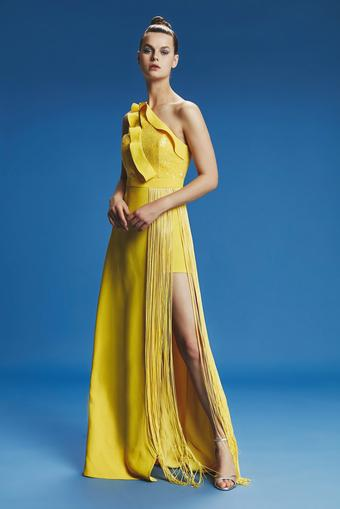 Sarı Uzun Saçaklı Elbise