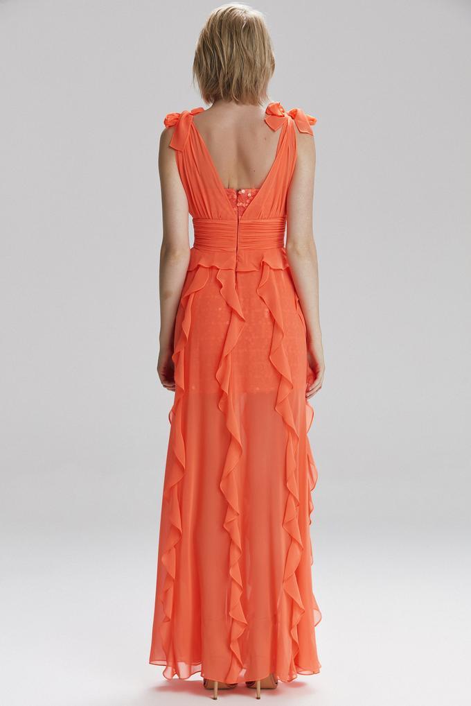 Turuncu Volanlı Uzun Elbise