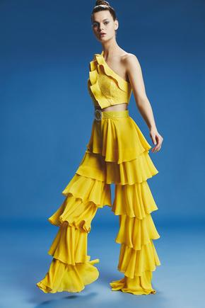 Sarı Fırfırlı Pantolon