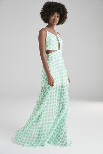 Yeşil Uzun Şifon Elbise