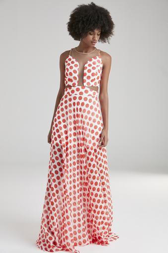 Kırmızı Uzun Şifon Elbise