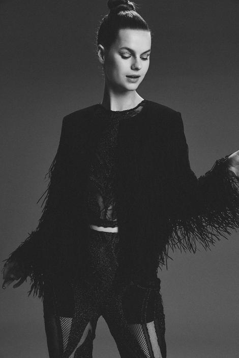 Siyah Saçaklı Ceket