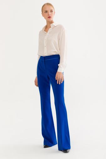 Mavi Biye Detaylı Pantolon