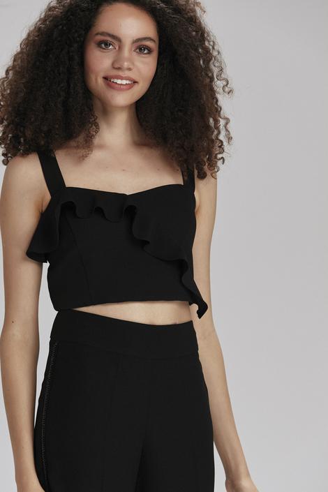 Siyah Önü Fırfılı Bluz