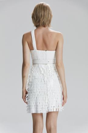 Beyaz Tek Omuzlu Elbise