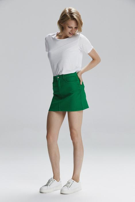 Yeşil Kısa Jean Etek