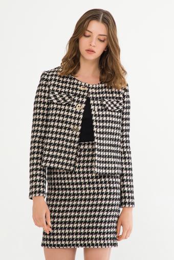 Siyah Kısa Desenli Ceket
