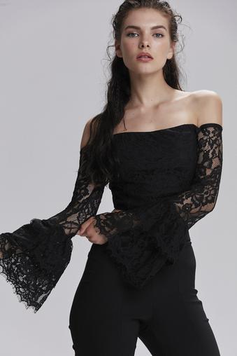 Siyah Dantel Bluz