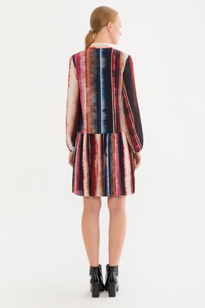 Bordo Pliseli Elbise