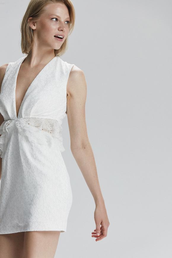 Bej Fırfırlı Dantel Elbise
