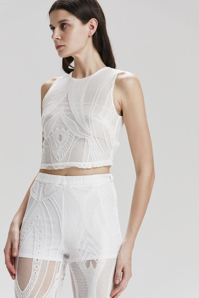 Beyaz Krop Bluz