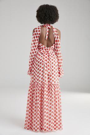 Kırmızı Sırtı Dekolteli Elbise
