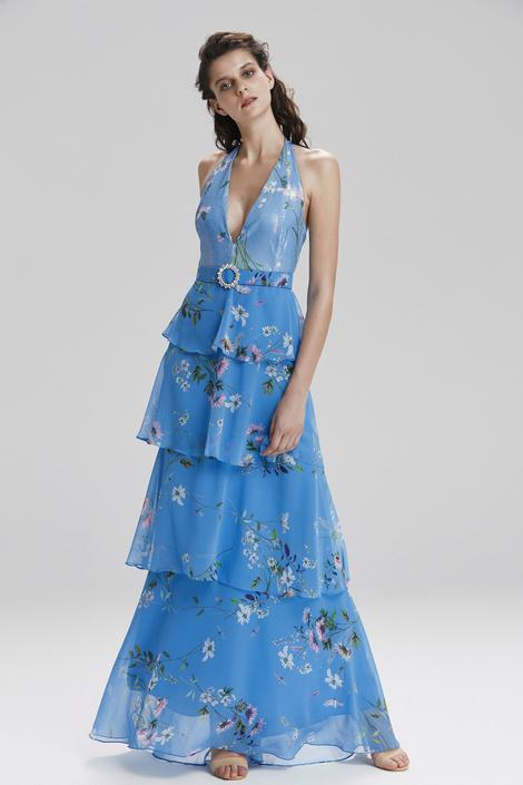 Mavi Boyundan Fırfırlıı Elbise