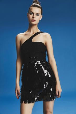 Siyah Tek Omuzlu Elbise