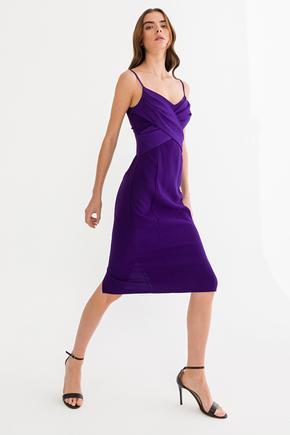 Mor Askılı Elbise