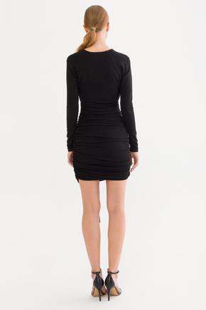 Siyah Kruvaze Jarse Elbise