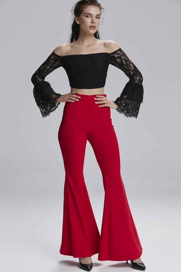 Kırmızı İspanyol Paça Pantolon