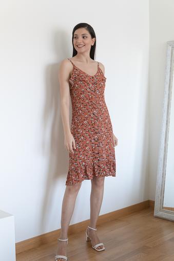 Tarçın İp Askılı Elbise
