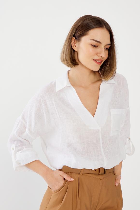 Beyaz Düşük Kollu Önü Cepli Keten Bluz
