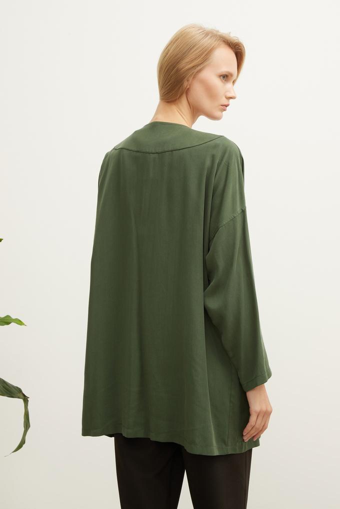 Yeşil Yandan Cepli Tencel Ceket