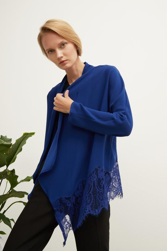 Mavi Şal Yaka Dantelli Ceket
