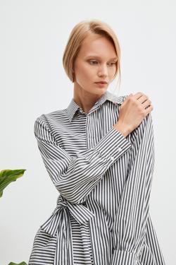Çizgili Asimetrik Gömlek Elbise