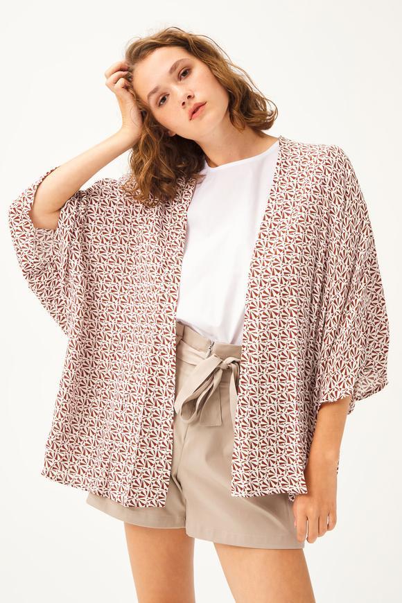 Tarçın Baskılı Kimono
