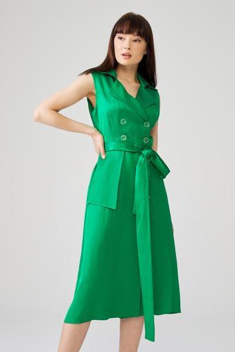 Yeşil Sıfır Kol Elbise