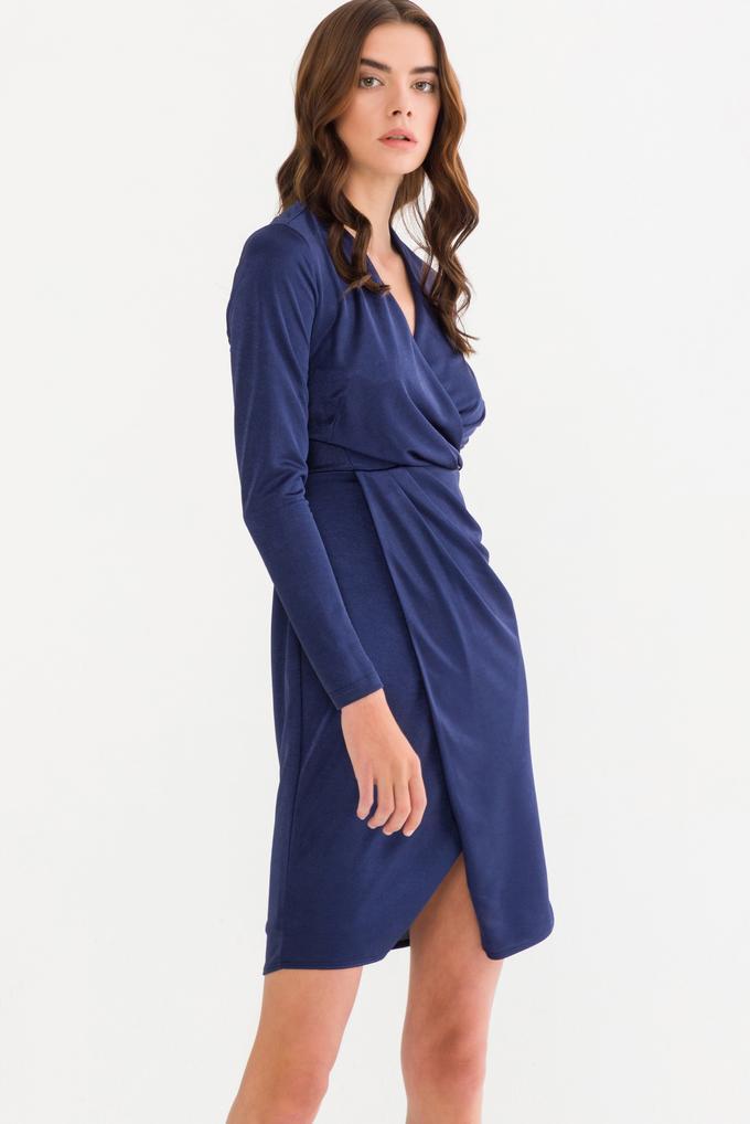 Lacivert Kruvaze Kadife Elbise
