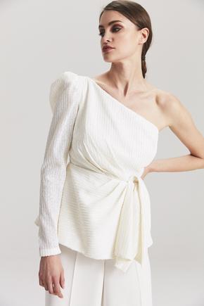 Beyaz Tek Omuz Payet Bluz