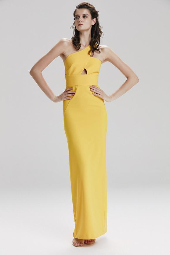 Sarı Uzun Saten Elbise