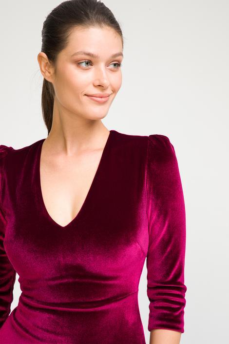 Bordo V Yaka Elbise