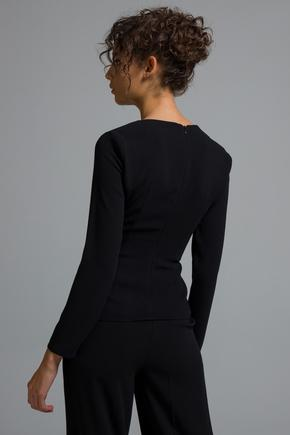 Siyah Payet Şeritli Bluz