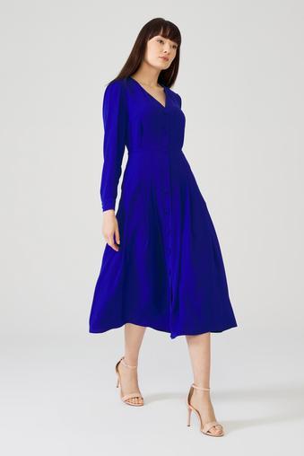 Mavi Önü Düğmeli Elbise