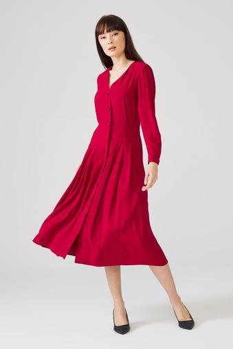 Kırmızı Önü Düğmeli Elbise