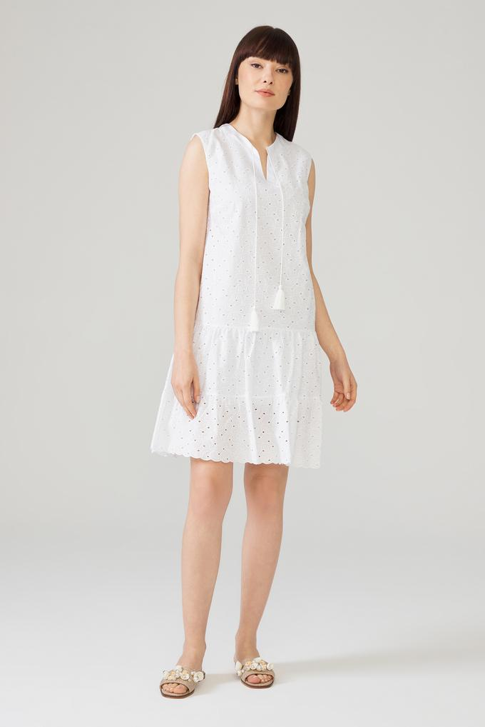 Beyaz Yakası Bağcıklı Elbise