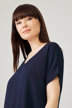 Lacivert Kısa Kollu Bluz