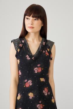 Garnili Sıfır Kollu Elbise