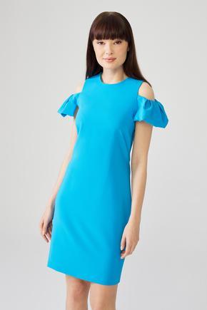 Mavi Omuzları Açık Elbise