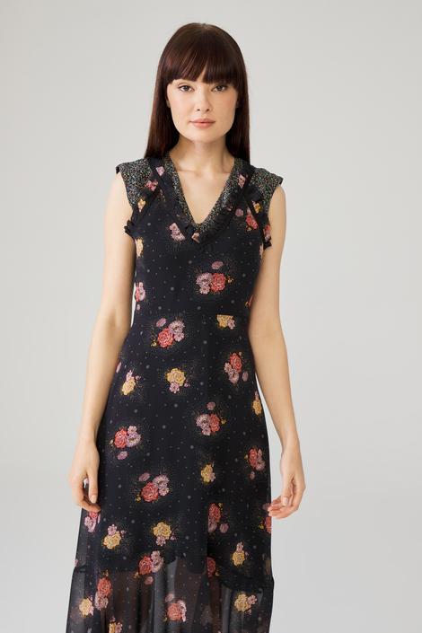 Siyah Garnili Sıfır Kollu Elbise