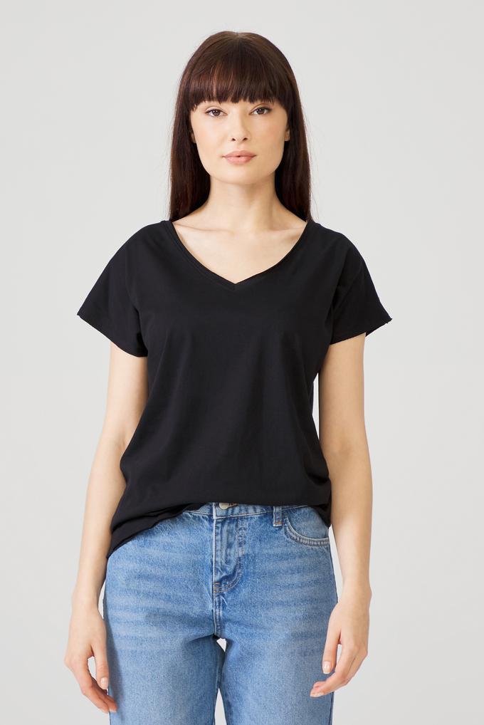 Siyah Omuzları Dantelli Tişört