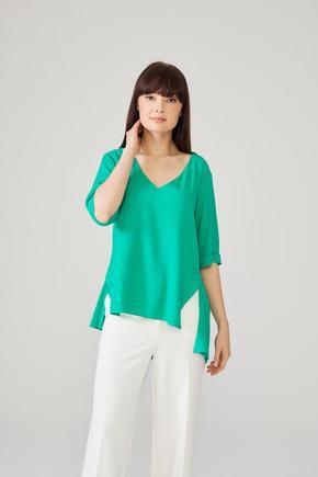 Yeşil V Yaka Bluz