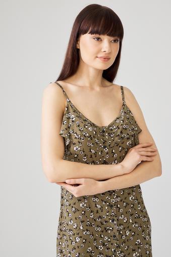 Yeşil İp Askılı Elbise