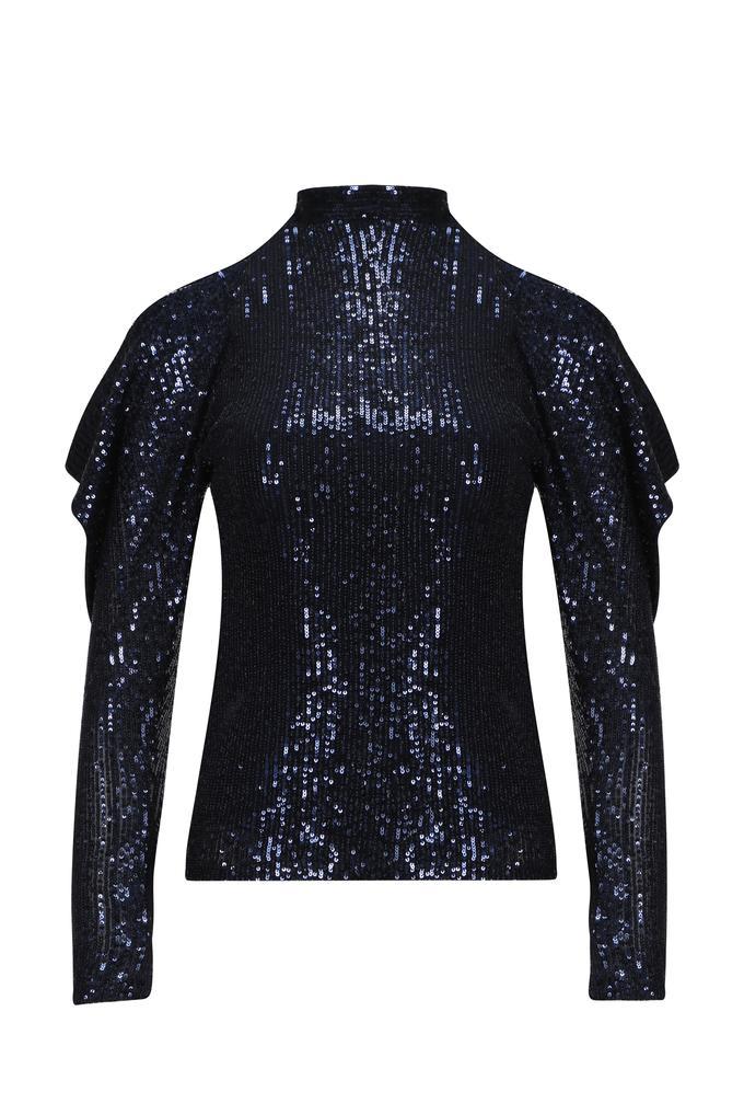 Lacivert Omuzları Açık Kolları Drapeli Payet Bluz