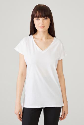 Beyaz Omuzları Dantelli Tişört