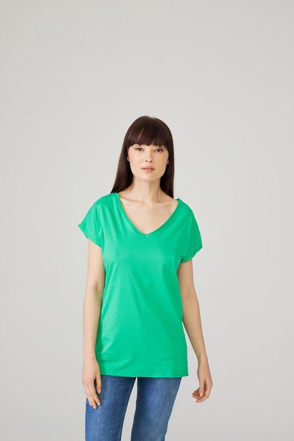 Yeşil Omuzları Dantelli Tişört