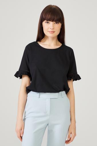 Siyah Kolu Fırfırlı Bluz