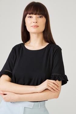 Kol Uçları Volanlı Dantel Şeritli Bluz