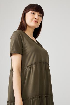 Yeşil V Yaka Elbise